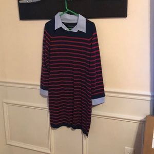 Navy and red striped dress with collar